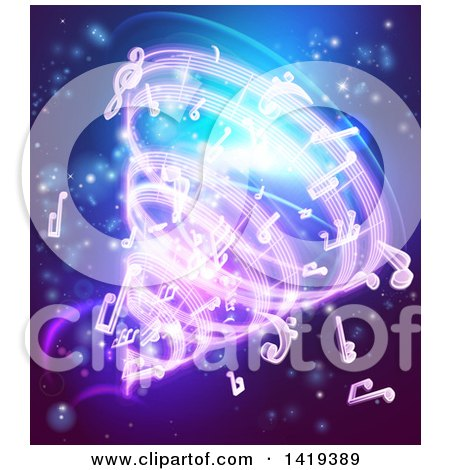 Clipart of a Vortex of Music Notes on Blue - Royalty Free Vector Illustration by AtStockIllustration
