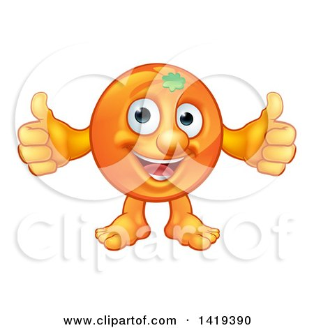 Clipart of a Cartoon Happy Orange Mascot Giving Two Thumbs up - Royalty Free Vector Illustration by AtStockIllustration