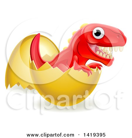 Clipart of a Cute Red Tyrannosaurus Rex Dinosaur Hatching - Royalty Free Vector Illustration by AtStockIllustration