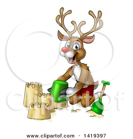 Clipart of a Happy Cartoon Rudolph Red Nosed Reindeer Making a Sand Castle - Royalty Free Vector Illustration by AtStockIllustration