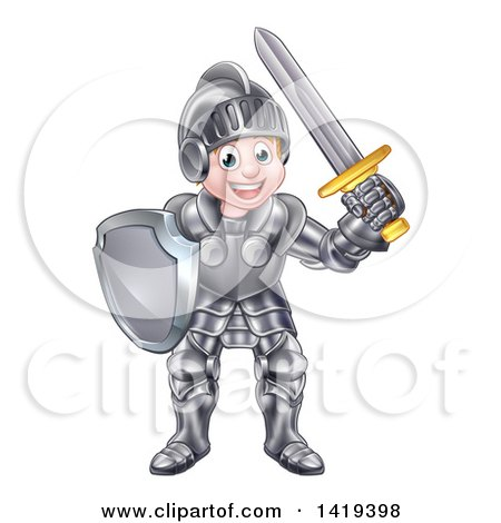 Clipart of a Happy Knight Boy in Full Armour - Royalty Free Vector Illustration by AtStockIllustration
