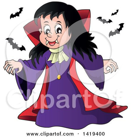 Clipart of a Vampire Girl with Bats - Royalty Free Vector Illustration by visekart