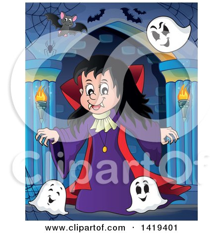 Clipart of a Vampires Girl with Bats and Ghosts in a Hallway - Royalty Free Vector Illustration by visekart