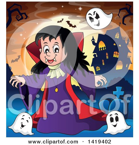 Clipart of a Vampires Girl with Bats and Ghosts near a Haunted House Against a Full Moon - Royalty Free Vector Illustration by visekart
