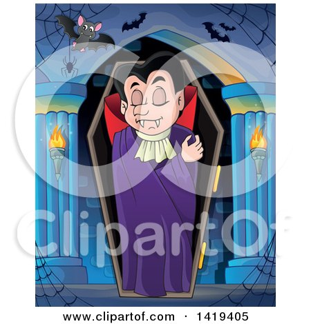 Clipart of a Sleeping Vampire in a Coffin in a Hallway - Royalty Free Vector Illustration by visekart