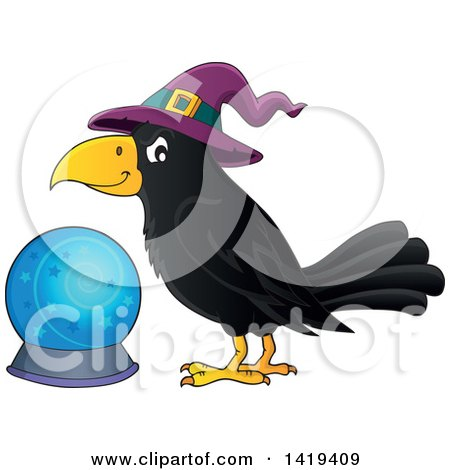 Clipart of a Halloween Crow Bird Wearing a Witch Hat by a Crystal Ball - Royalty Free Vector Illustration by visekart