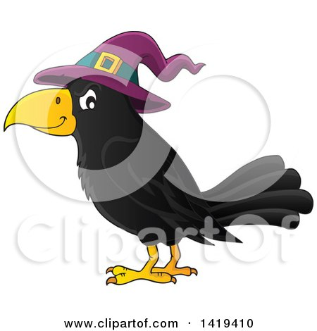 Clipart Of A Halloween Crow Bird Wearing A Witch Hat Royalty Free Vector Illustration