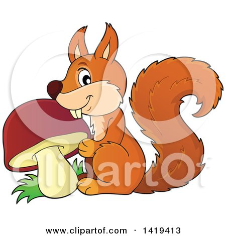 Clipart of a Happy Squirrel with a Mushroom - Royalty Free Vector Illustration by visekart