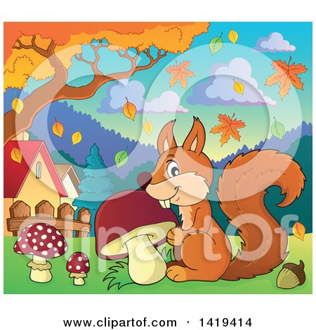 Clipart of a Happy Squirrel with a Mushroom in an Autumn Park - Royalty Free Vector Illustration by visekart