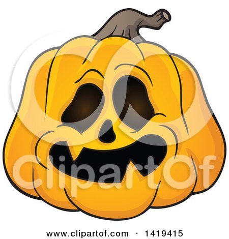 Clipart of a Carved Halloween Jackolantern Pumpkin - Royalty Free Vector Illustration by visekart