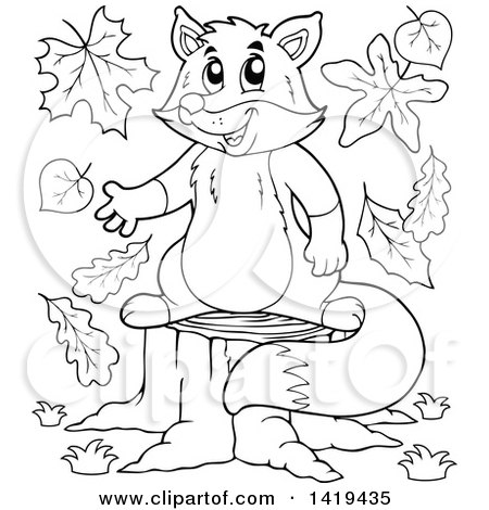 Clipart of a Black and White Lineart Fox Presenting on a Stump - Royalty Free Vector Illustration by visekart
