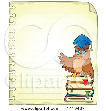Clipart of a Professor Owl on a Stack of Books on a Piece of Ruled Paper - Royalty Free Vector Illustration by visekart