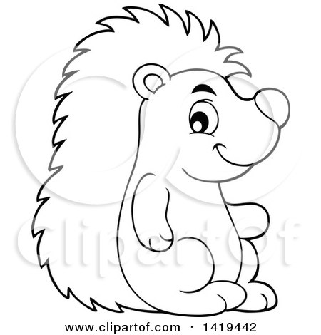 Clipart of a Black and White Lineart Cute Happy Hedgehog - Royalty Free Vector Illustration by visekart