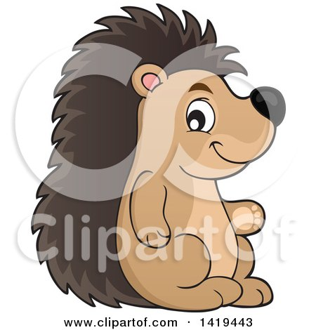 Clipart of a Cute Happy Hedgehog - Royalty Free Vector Illustration by visekart