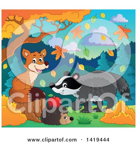 Clipart of a Cute Fox, Hedgehog and Badger in an Autumn Landscape - Royalty Free Vector Illustration by visekart