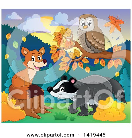Clipart of a Cute Fox, Owl and Badger in an Autumn Landscape - Royalty Free Vector Illustration by visekart