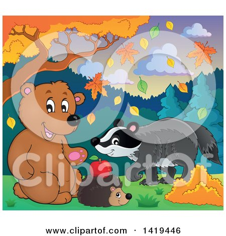Clipart of a Cute Bear, Hedgehog and Badger in an Autumn Landscape - Royalty Free Vector Illustration by visekart
