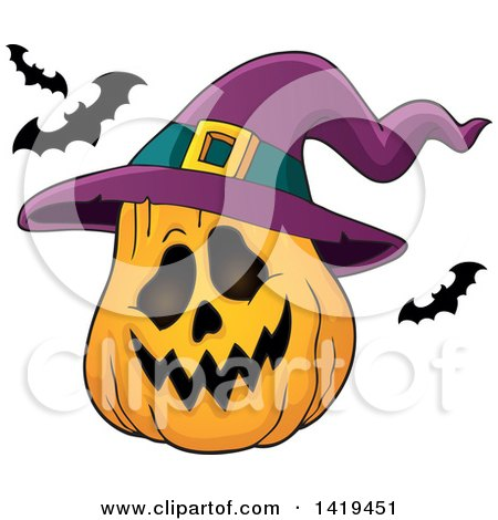 Clipart of a Halloween Jackolantern Pumpkin with a Witch Hat and Flying Bats - Royalty Free Vector Illustration by visekart