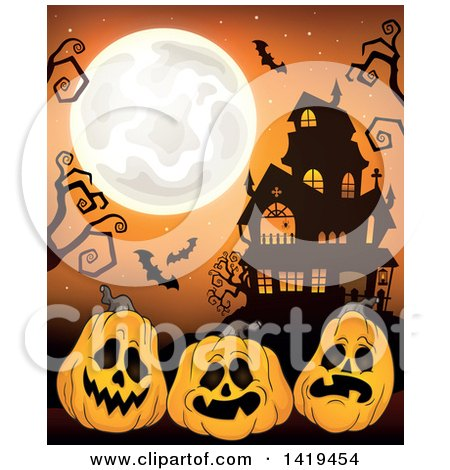 Clipart of a Full Moon over a Haunted House with Bats, Bare Tree Branches, and Halloween Jackolantern Pumpkins over Orange - Royalty Free Vector Illustration by visekart