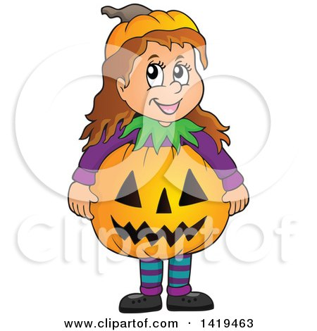 Clipart of a Caucasian Girl in a Halloween Pumpkin Costume - Royalty Free Vector Illustration by visekart