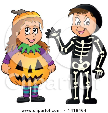 Clipart of a Boy in a Skeleton Costume and Girl in a Halloween Jackolantern Pumpkin Costume - Royalty Free Vector Illustration by visekart