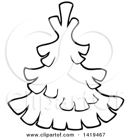 Clipart of a Black and White Lineart Evergreen Tree - Royalty Free Vector Illustration by visekart