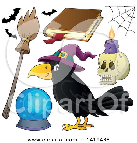 Clipart of a Halloween Crow Bird Wearing a Witch Hat and Accessories - Royalty Free Vector Illustration by visekart