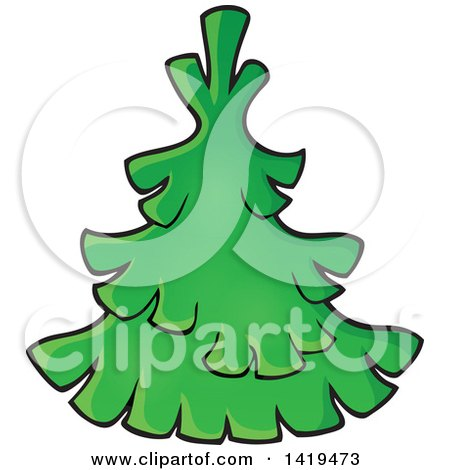 Clipart of a Green Tree - Royalty Free Vector Illustration by visekart