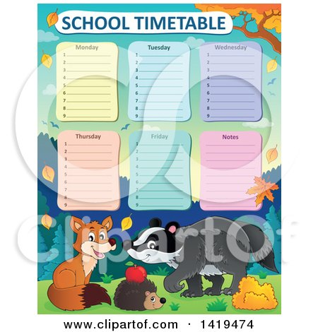 Clipart of a Cute Fox, Hedgehog and Badger in an Autumn Landscape Under a School Timetable - Royalty Free Vector Illustration by visekart