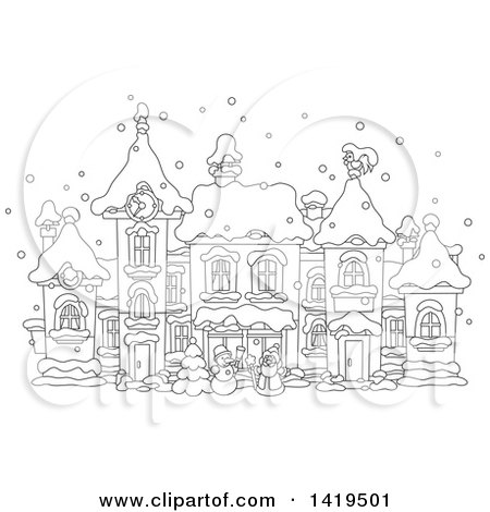 Clipart of a Black and White Lineart Snowman and Santa Claus in a Snowy Winter Village - Royalty Free Vector Illustration by Alex Bannykh