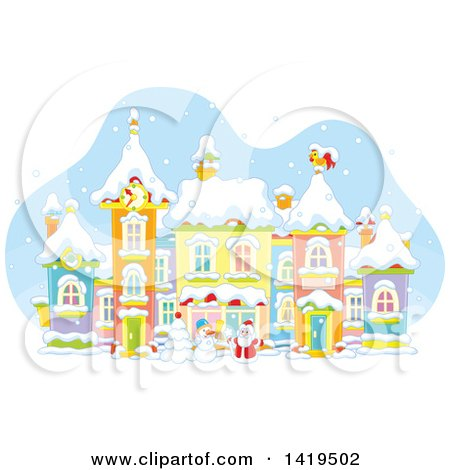 Clipart of a Snowman and Santa Claus in a Snowy Winter Village - Royalty Free Vector Illustration by Alex Bannykh