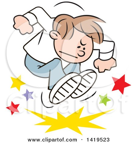 Clipart of a Cartoon Angry Brunette Caucasian Boy Stomping and Throwing a Tantrum - Royalty Free Vector Illustration by Johnny Sajem