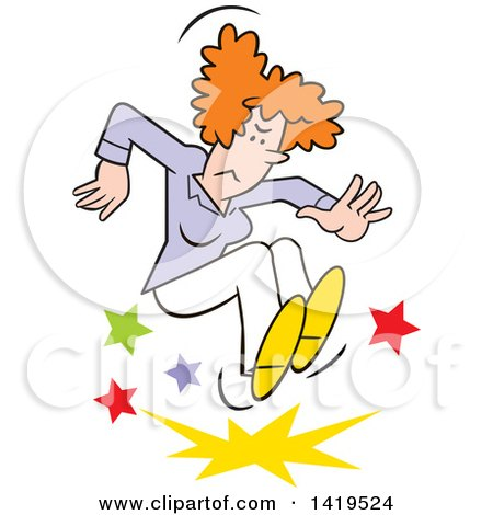 Clipart of a Cartoon Angry Red Haired Caucasian Woman Stomping and Throwing a Tantrum - Royalty Free Vector Illustration by Johnny Sajem