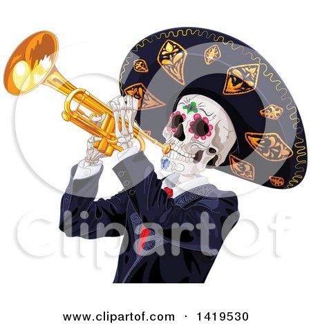 Clipart of a Dia De Muertos Day of the Dead Skeleton Playing a Trumpet - Royalty Free Vector Illustration by Pushkin