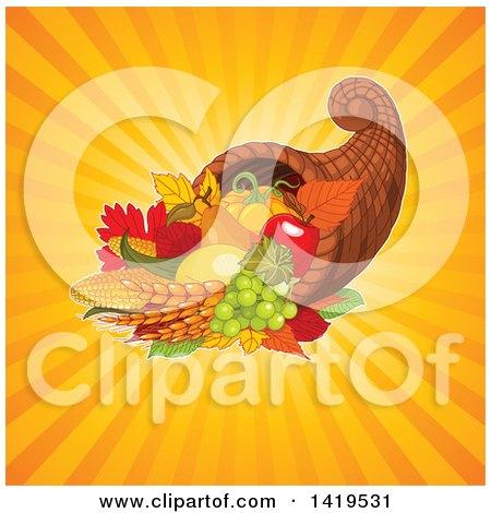 Clipart of an Autumn Harvest Cornucopia over Orange Sun Rays - Royalty Free Vector Illustration by Pushkin