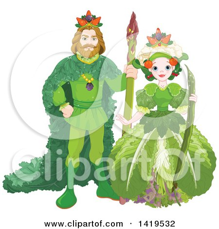 Clipart of a Vegetable King Standing with an Asparagus Staff and Queen Holding a Bean Pod - Royalty Free Vector Illustration by Pushkin