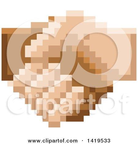 Retro 8 Bit Pixel Art Styled Hands Shaking Posters, Art Prints