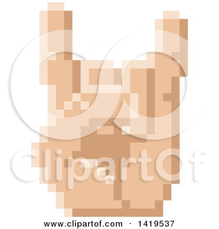 Clipart of a Retro 8 Bit Pixel Art Styled Hand Gesturing the Sign of the Horns - Royalty Free Vector Illustration by AtStockIllustration