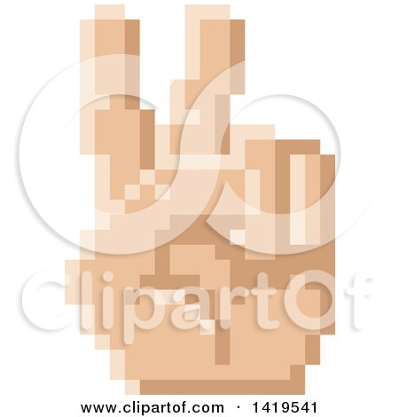 Clipart of a Retro 8 Bit Pixel Art Styled Hand Gesturing Peace - Royalty Free Vector Illustration by AtStockIllustration