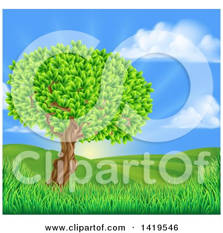 Clipart of a Lush Tree in a Beautiful Hilly Country Landscape at Sunrise - Royalty Free Vector Illustration by AtStockIllustration