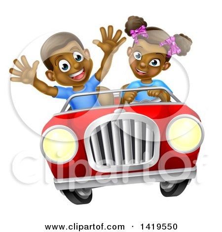 Clipart of a Happy Black Girl Driving a Boy in a Red Convertible Car - Royalty Free Vector Illustration by AtStockIllustration