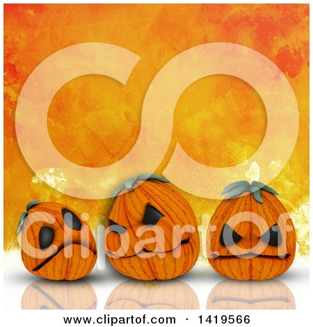 Clipart of 3d Halloween Jackolantern Pumpkins on a Reflective Surface, over Orange Watercolor - Royalty Free Illustration by KJ Pargeter