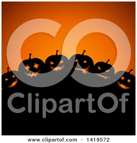 Clipart Of A Silhouetted Hill With Halloween Jackolantern Pumpkins Over Orange Royalty Free Vector Illustration