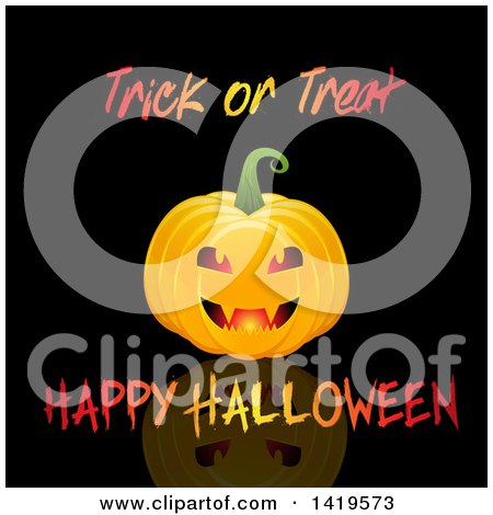 Clipart of a Halloween Jackolantern Pumkin with Text on Black - Royalty Free Vector Illustration by KJ Pargeter