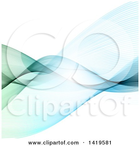 Clipart of a Blue and Green Flowing Waves Background - Royalty Free Vector Illustration by KJ Pargeter