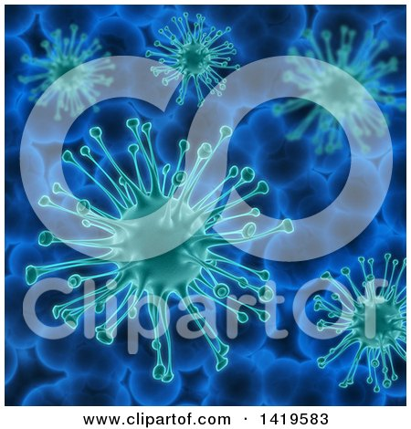 Clipart Of A Background Of 3d Virus Cells Royalty Free Illustration