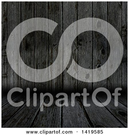 Clipart of a Background of 3d Dark Aged Wood Walls and Flooring - Royalty Free Illustration by KJ Pargeter