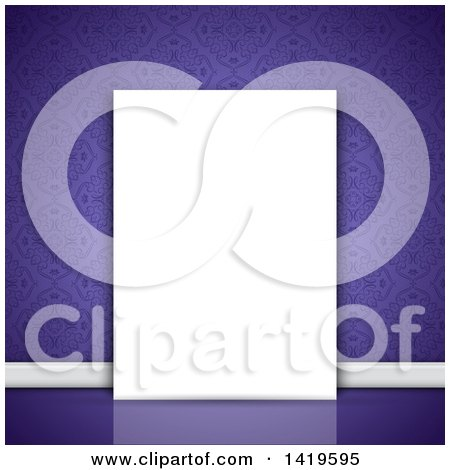 Clipart of a Purple Damask Wallpapered Wall with a Blank Canvas - Royalty Free Vector Illustration by KJ Pargeter