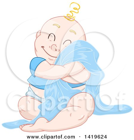 Clipart of a Cartoon Happy Blond Haired Baby Boy Cuddling with His Blanket - Royalty Free Vector Illustration by Liron Peer