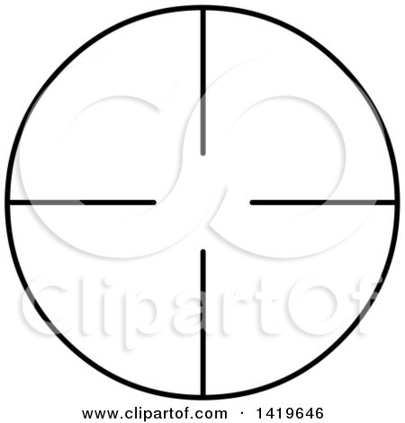 Clipart of a Black and White Round Rifle or Sniper Scope - Royalty Free Vector Illustration by Liron Peer